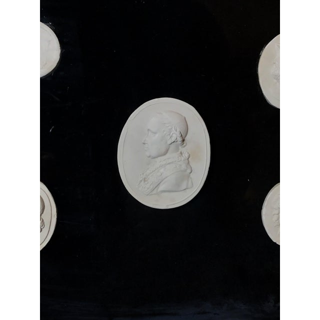 Antique Italian Grand Tour Plaster Cameo and Intaglio Arrangement, Framed For Sale - Image 9 of 12
