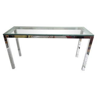 MidCentury Modern Chrome and Glass Console For Sale