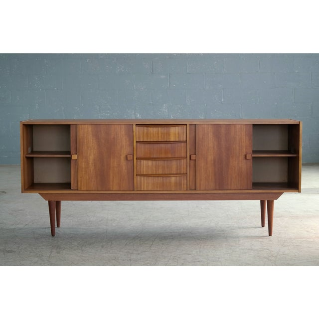 1960s Danish Mid-Century Low Teak Sideboard by Domino Møbler, 1960s For Sale - Image 5 of 11