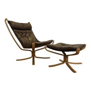 Mid-Century Falcon Chair and Ottoman Designed by Sigurd Ressell for Vatne Mobler, Made in Norway For Sale