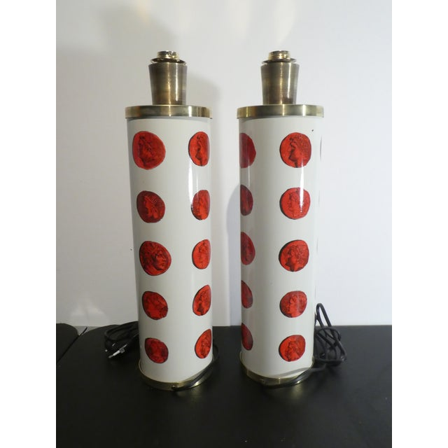 Italian Mid 20th Century Vintage Italian Fornasetti Red Cameo Lamps - a Pair For Sale - Image 3 of 13