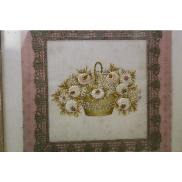 Late 19th Century Gilded Thread Framed Embroidery For Sale - Image 5 of 7