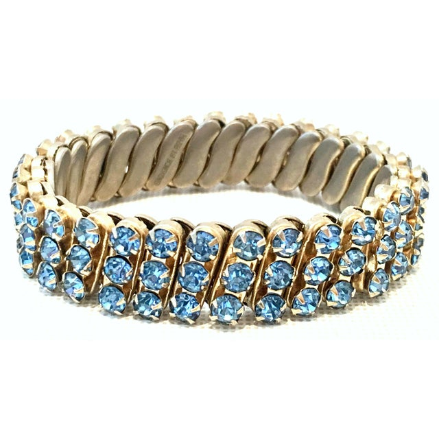 1960's Gold & Sapphire Blue Crystal Rhinestone Expansion Link Bracelet For Sale - Image 9 of 9