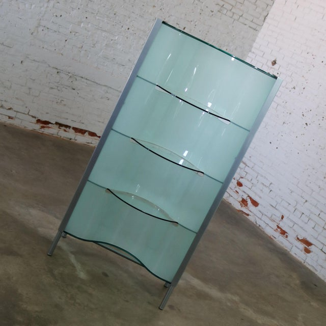 Mid-Century Modern Modern Dual Sided Glass and Metal Enclosed Display For Sale - Image 3 of 13