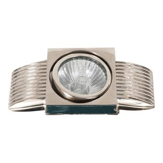 Art Deco Skyscraper Style Spotlight in Lustrous Polished Nickel For Sale