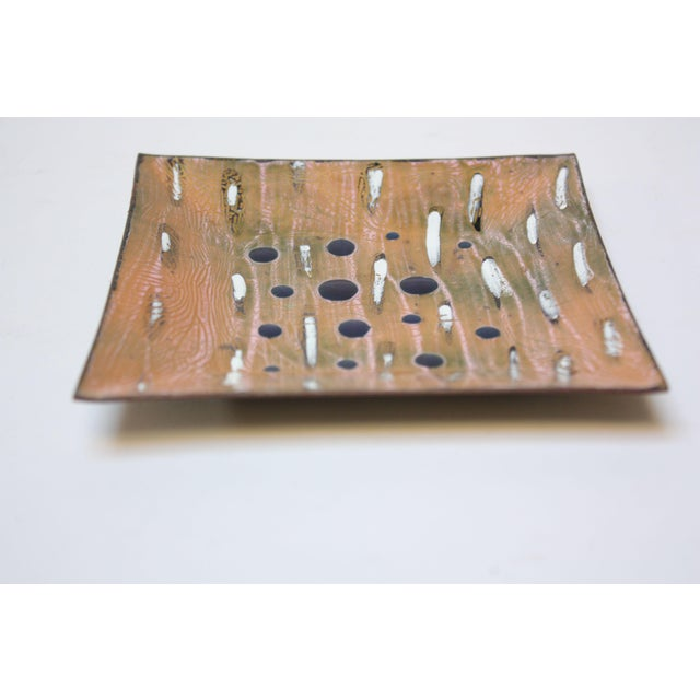 Mid-Century Modern Eve Rabinowe Enamel on Copper Square Dish For Sale - Image 3 of 8
