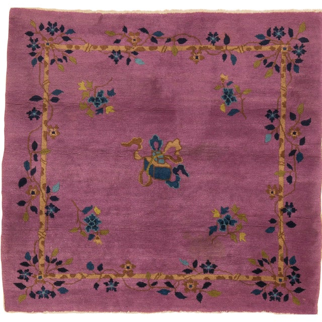 1920s Vintage Chinese Art Deco Square Rug - 3′11″ × 4′2″ For Sale
