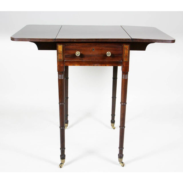 Hollywood Regency Regency Mahogany And Brass Inlaid Table For Sale - Image 3 of 10