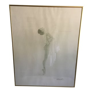 Charcoal Sketch of Ballerina Signed by Artist