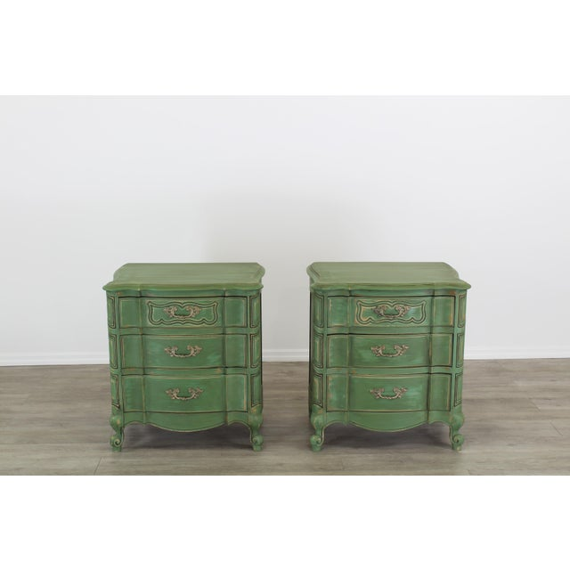 Pair of French Provincial Nightstands, Mid Century Nightstands, Green Nightstand, Shabby Chic Nightstands For Sale - Image 10 of 11