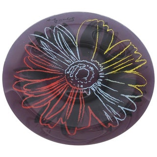 Andy Warhol Glass Abstract Flower Plate/Serving Piece