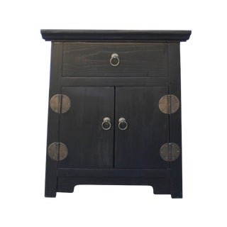 Black Lacquer Moonface End Table Nightstand Cabinet For Sale