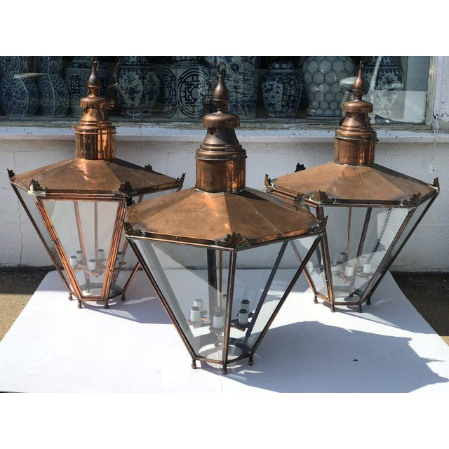 Industrial Large Copper Lantern For Sale - Image 3 of 6