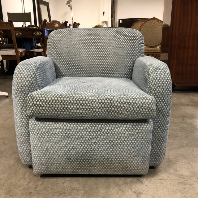 Steve Chase Steve Chase Swivel Blue Arm Chair For Sale - Image 4 of 4