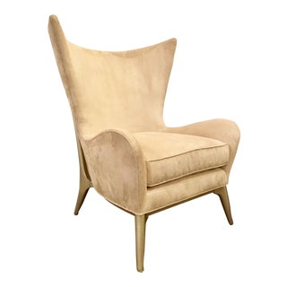 Caracole Couture Modern What's New Pussycat? Tan Suede Wingback Chair For Sale