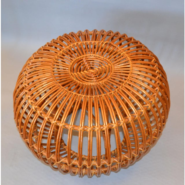 Franco Albini and Franca Helg Vintage Franco Albini Hand-Woven Rattan / Wicker Ottoman Pouf For Sale - Image 4 of 12