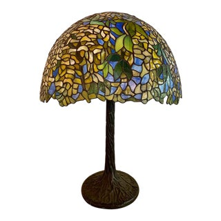 Art Deco Style Green Floral Tiffany Form Table Lamp on Bronze Base For Sale