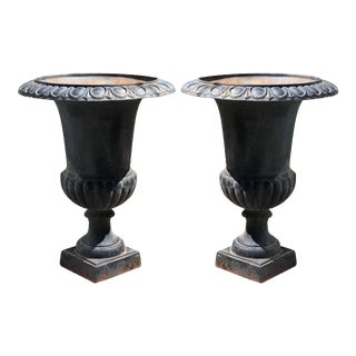 19th Century Cast Iron Planters or Jardinieres - a Pair For Sale
