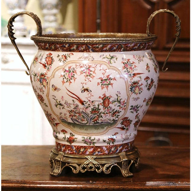 Mid-Century Chinese Bronze and Painted Porcelain Planter With Butterfly Motifs For Sale - Image 10 of 10