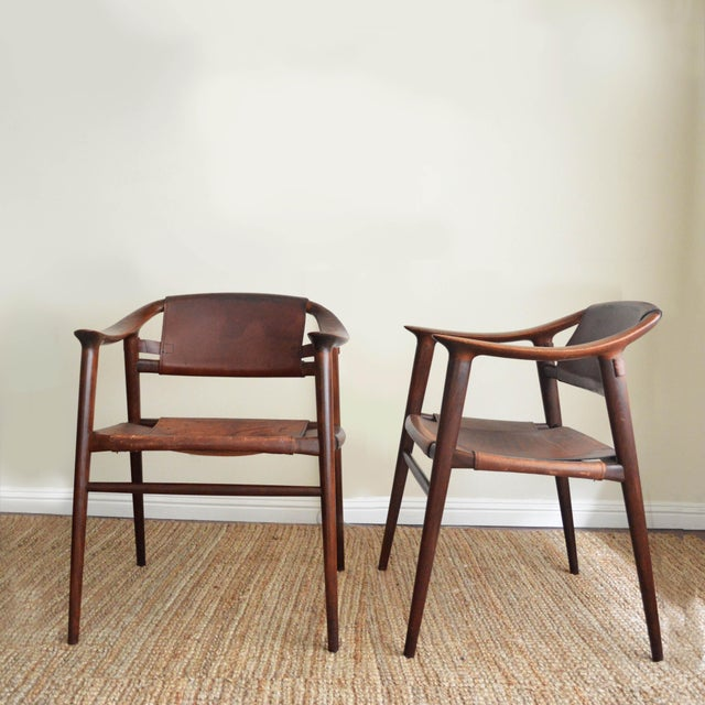 """Set of 2 extremely rare """"Bambi"""" Chairs designed by Rolf Rastad & Adolf Relling for Gustav Bahus in the 1950's. An iconic..."""