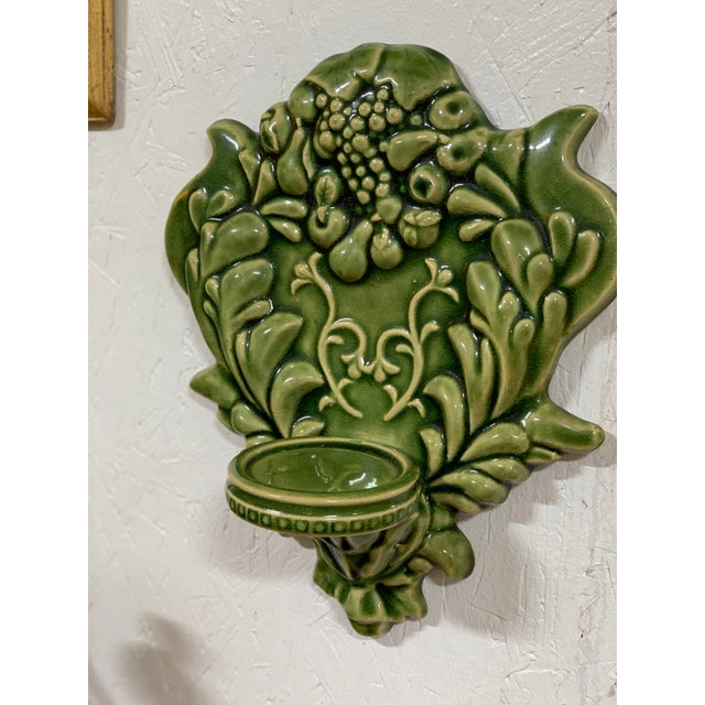 Green Majolica Fruit Wall Pockets - a Pair For Sale - Image 11 of 13