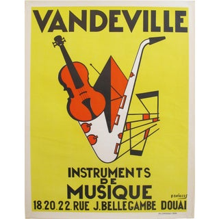 1950s French Music Poster, Vandeville Instruments For Sale