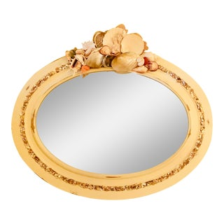 White Oval Shell Wall Mirror For Sale
