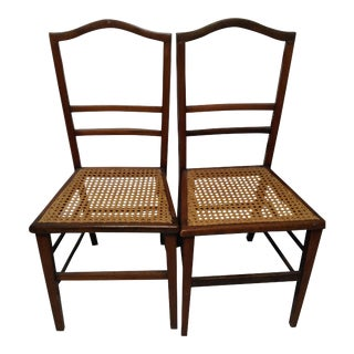 Cane Seat Wood Chairs - A Pair For Sale