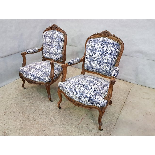 "Gorgeous Pair of French Newly Upholstered Carved Walnut Louis XV Caster Wheel Armchairs Dimensions: His W 25"" x D 19.5"" x..."