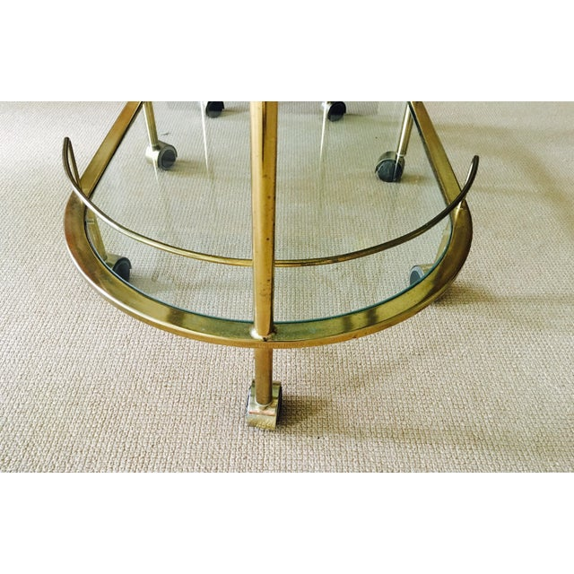 Mid Century Bar Cart Brass Swivel Triple Tiered - Image 7 of 11