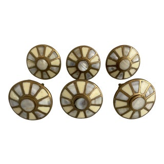 Art Nouveau Brass and Mother of Pearl Drawer Knobs - Set of 6 For Sale