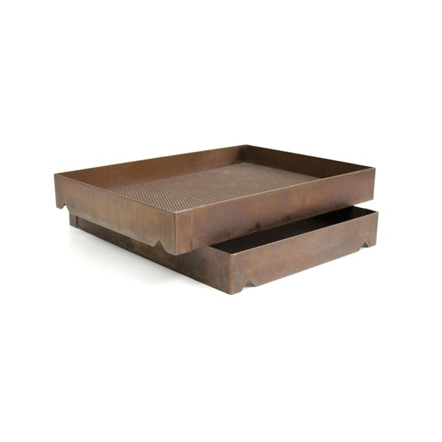 1960s Architectural Bronze Mesh Letter Tray For Sale - Image 5 of 13