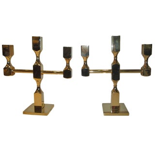 Pair of Gusums Bruk Brass Candelabras For Sale