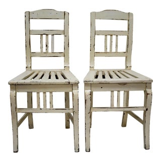 Pair of Painted Oak Country Side Chairs For Sale