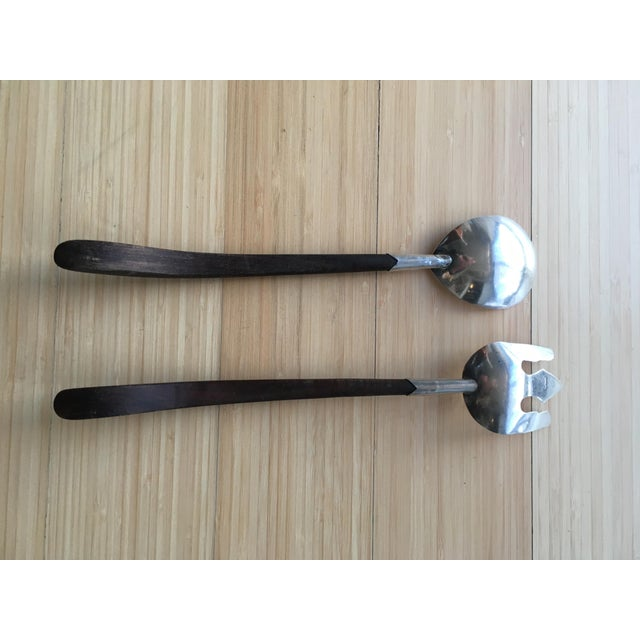 Boho Chic Vintage Mexican 925 Silver Salad Serving Utensils - a Pair For Sale - Image 3 of 6