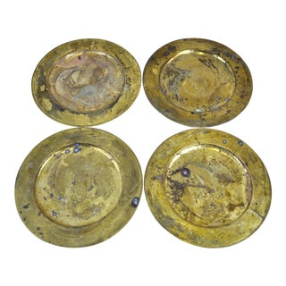 Vintage Collectible Solid Brass Charger Plates - Set of 4