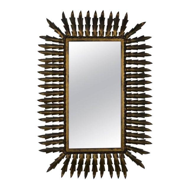 Gold Spanish Gilt Metal Rectangular Sunburst Mirror For Sale - Image 8 of 8