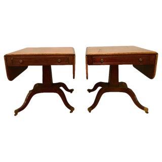 Pair of Schmieg & Kotzian Georgian Style Drop-Leaf Sofa, Card or Side Tables For Sale