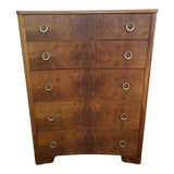 Image of Art Deco Walnut Crotch Wood Chest of Drawers For Sale
