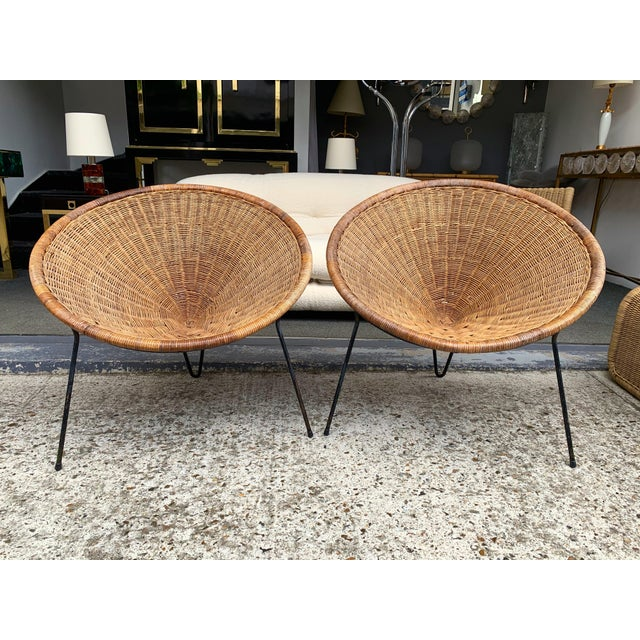 1950s Rattan Basket Armchairs - a Pair For Sale - Image 13 of 13