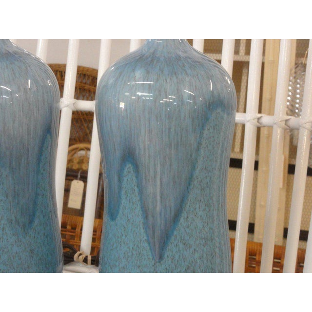 Mid-Century Modern Robin Egg Blue Glazed Lamps - A Pair - Image 3 of 10