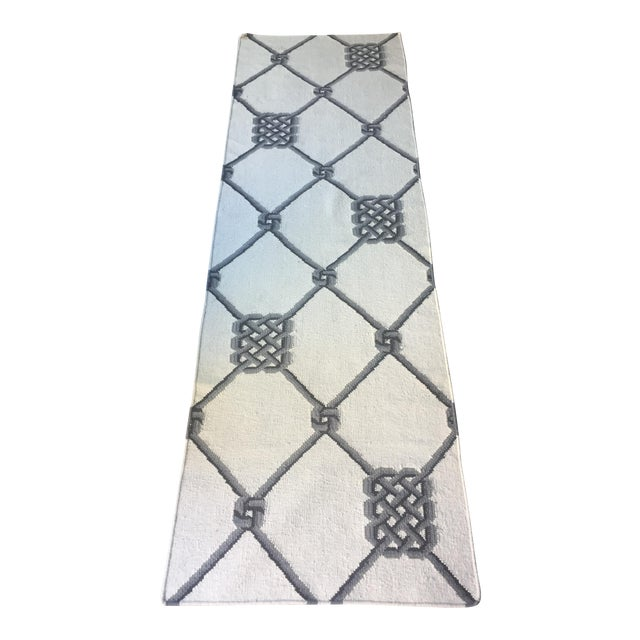 "Knot Motif Diamond Wool Runner Rug - 2'7"" X 7'11"" - Image 1 of 5"