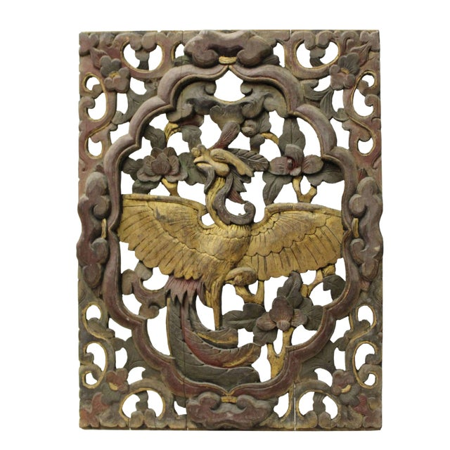 Chinese Old Vintage Phoenix Flowers Wooden Panel Wall Art | Chairish