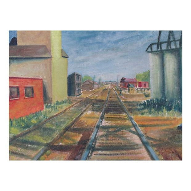 "Early 20th Century ""Railroad Tracks"" Oil Painting - Image 3 of 5"