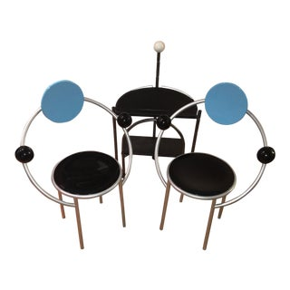 1980's Vintage Memphis Milano Italian First Chair Set and Accent Table- 3 Pieces For Sale