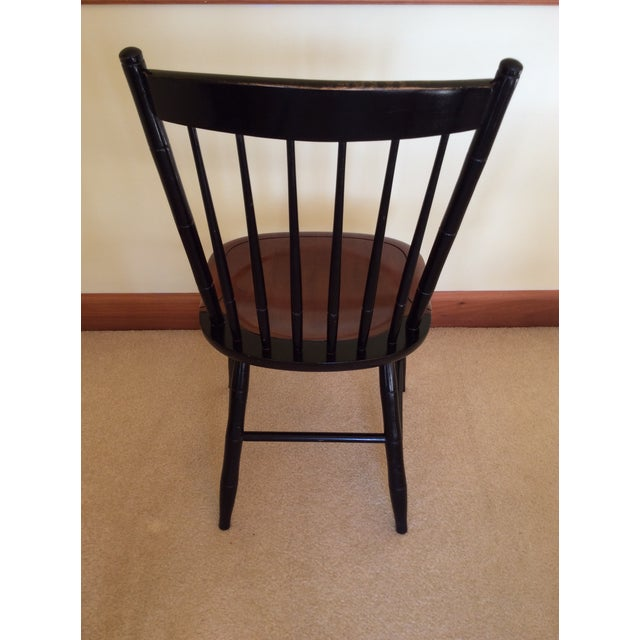 Hitchcock Country Side Chair in Black With Harvest Stained Seat For Sale - Image 9 of 11