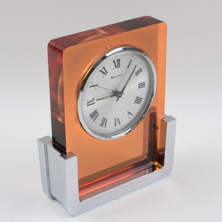 1970s Bulova Japan 2ra007 Wind Up Alarm Table Clock Copper Lucite and Chrome Preview