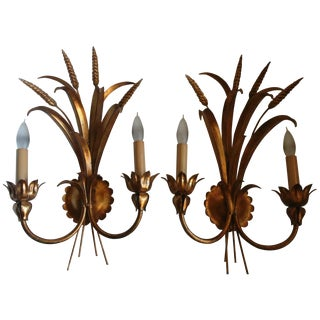 60s Italian Gilt Wheat Sheaf Wall Sconces - Pair For Sale