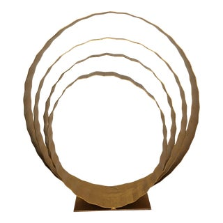 Abstract Hollywood Regency Gold Leaf Four Ring Sculpture