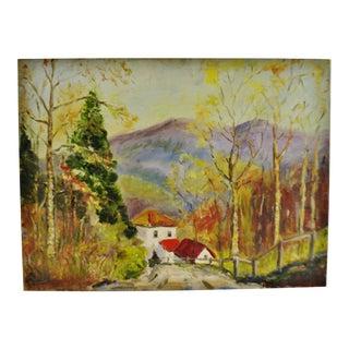 Vintage Oil on Canvas Board Mountain Landscape Scene For Sale